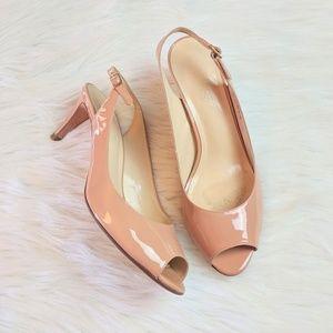 Talbot's Leather Peep Toe Sling Back Heels 8.5